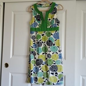 Boden green blue floral slvlss linen shift dress 4